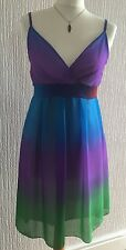 Lovely ICE strappy sun summer party festival dress green blue purple red UK 12