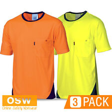 3 X HI VIS YELLOW/ORANGE COOL DRY COOL BREATHE MICROMESH TEE SHIRT WORKWEAR