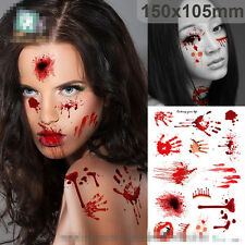 Halloween Terror Wound Realistic Blood Injury Scar Fake Tattoo Sticker Temporary