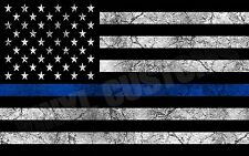 "5"" American Police Flag USA Decal Sticker Vinyl Patriotic Cracked Blue Stripe"