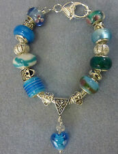 *Handmade Luxury Blue Chunky Glass Lampwork Beaded Charm Bracelet- Great Gift*