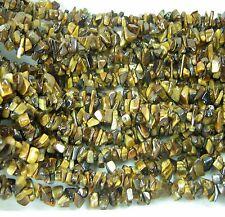 """India 100% Natural Tiger Eye  Crystal Chip Beads Strand 36"""""""