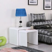 Modern Designed White High Gloss Nest Of 2 Coffee Table/Side Table Living Room
