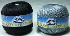 2 x DMC Petra 100% Mercerised Cotton Size 3 = 1 x Grey 5414 + 1 x Black 5310 NEW