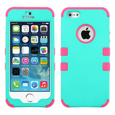 For Apple iPhone 5 Rubber IMPACT TUFF HYBRID Case Skin Phone Cover Teal Hot Pink
