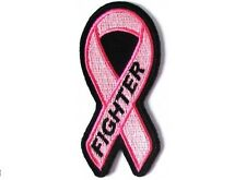 BREAST CANCER FIGHTER PINK RIBBON EMBROIDERED IRON ON PATCH
