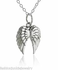 Angel Wings Charm Necklace - 925 Sterling Silver - Angels Wing Bird Feathers NEW