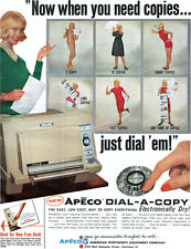 Apeco Dial A Copy Machine PHOTOCOPIER Short Long Copies BLONDE MODEL 1964 Ad