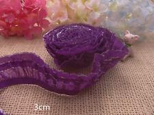 Wholesale lot 15yds purple double   ruffle elastic   lace trim  diy   doll  3cm