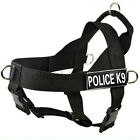 Nylon Dog Harness Removable Chest Plate & Velcro Patches POLICE K9 Large XL Dogs