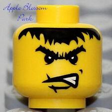 NEW Lego Castle MINIFIG HEAD Kingdoms Pirate w/Black Eye Brow Hair & Angry Grin