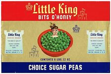 CAN CASE LABEL VINTAGE C1950S ORIGINAL LITTLE KING PEAS MILTON OREGON ROGERS