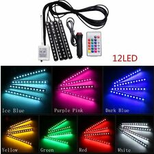 4x 12LED Remote Control Colorful RGB Car Interior Floor Atmosphere Light Strip
