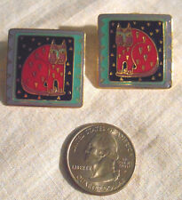 "Laurel Burch Vintage ""Fantastic Feline"" Square Colorful Cat Print Post Earrings"