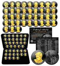 Complete Set US PRESIDENTIAL DOLLARS - BLACK RUTHENIUM 24K Gold Edition with BOX
