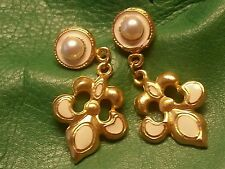 Chunky Vintage French Fleur de Lis Gold Dangle Earrings NOLA Saints 1b 31