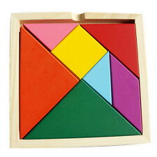 Rainbow Tangram 7 piece square solid wood brain teaser wooden puzzle