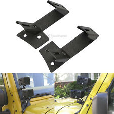 2X For Jeep Wrangler JK Rubicon Dual LED Work Light A-pillar Mount Brackets Cube