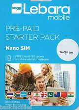 Australian/Australia Lebara Mobile (Vodafone) Prepay Pay as you go NANO Simcard