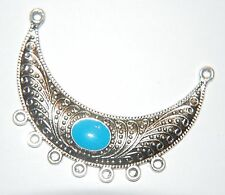 STATEMENT PENDANT ~ Decorative Silver CURVED Connector Chandalier ~ 54mm - Blue