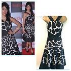 New KAREN MILLEN Giraffe Print Dress Black White Full Skirted Ladies Size 6 UK