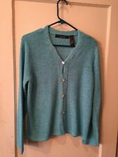 Crazy Horse Collection Woman's Size L Sky Blue, Button Up, Long Sleeve Sweater
