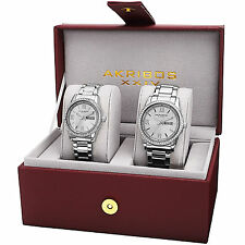 New His & Hers Akribos XXIV AK888SS Silver-tone Crystal Accented Steel Watch Set