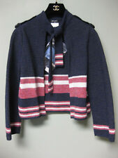 $2300 Chanel 16P AUTH NWT Navy Red Ecru 2-Pocket Neck Ties Cardigan Jacket 38