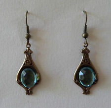ART NOUVEAU STYLE FACETED TURQUOISE GLASS DARK GOLD PLATED DROP EARRINGS HOOK