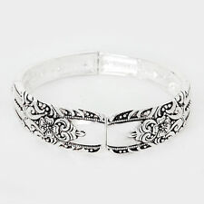 Spoon Stretch Bracelet Vine Design Handle Plain Metal SILVER Filigree Jewelry