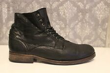 H By Hudson Leather Lace Up Black Military Boots UK 10  EU 44