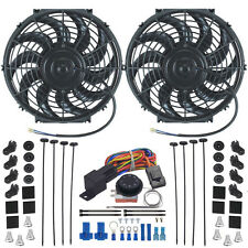 """DOUBLE 12"""" INCH ELECTRIC RADIATOR FAN-S ADJUSTABLE TEMP THERMOSTAT CONTROL KIT"""
