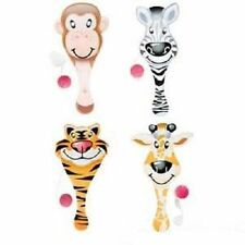 "8 ZOO PADDLE BALLS  Jungle Animals Party Favor 9"" #AA85 Free Shipping"