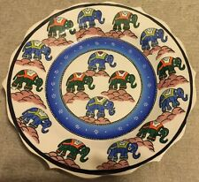 "Green & Blue Elephant Pattern 12"" Handpainted Turkish Ceramic Plate"