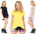 Ladies Asymmetric Long Top Short Sleeve Boat Neck T-Shirt Tunic Size 8-12 FA386