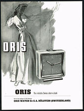 1940's Original Vintage 1948 Oris Watch Co. Alarm Clock Mid Century Art Print AD