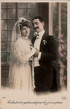 CD85.Vintage Greetings Postcard.Compliments to the young husband.Bride and Groom