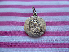 Little Art Nouveau French St Christopher medal signed Tairac, old car,1920s