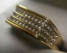 "10K SOLID YELLOW GOLD MEN'S GENUINE DIAMOND RING WITH ""DAD"" ENGRAVING CRP Size11"