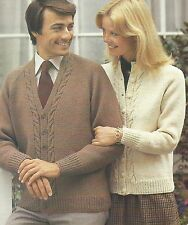 """Ladies and Mens Aran Cardigans V and Round neck Knitting Pattern 34-44"""" 806"""