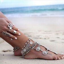 Tribal Ethnic Silver Coin Tassel Gypsy Festival Turkish Foot Anklets Bracelet