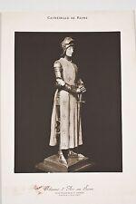 Photographie XX° Jeanne d'Arc au Sacre Statue par P d'Epinay Cathédrale Reims