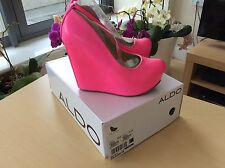 Brand New Fluorescent Neon Pink Wedge Shoes By Aldo - Size 4  - Boxed