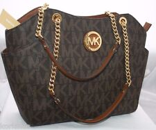 NEW MICHAEL KORS MK SIGNATURE BROWN JET SET TRAVEL CHAIN SHOULDER TOTE BAG