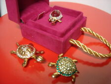 3 Vintage TURTLE Pins Carolee Monet Jelly Belly Peridot Crystal Goldtone PERFECT