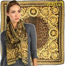 "VERSACE gold Baroque CROWNS brown LEO Spots cashmere 52"" Pashmina scarf NWT Auth"