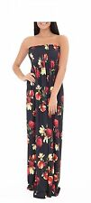 New Womens Floral Print Bandeau Boobtube Ladies Ruched Flared Sheering Maxi Dres