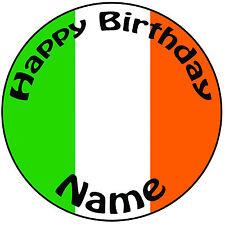 """Cumpleaños Personalizado IRLANDA-BANDERA IRLANDESA Redondo 8"""" fácil Precortada Glaseado Cake Topper"""