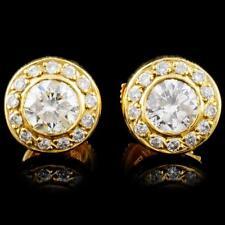 18K Gold 1.17ctw Diamond Earrings Lot 687