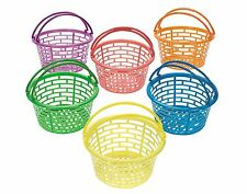 12 Bright Coloured Plastic Easter Egg Hunt Baskets | Kids Easter Parties